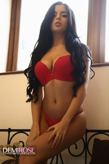 Demi Rose Mawby – So HOT in Red (Busty Babe from UK)