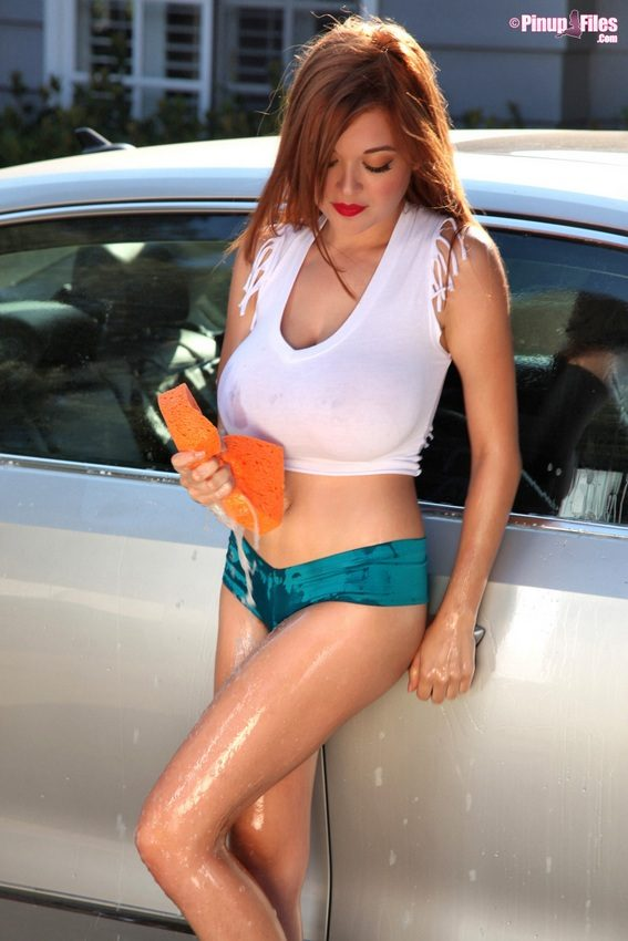 Tessa Fowler Nude @ Pinup Files – Busty Carwash Chick